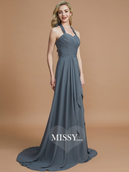 A-Line/Princess Halter Chiffon Sweep/Brush Train Bridesmaid Dresses