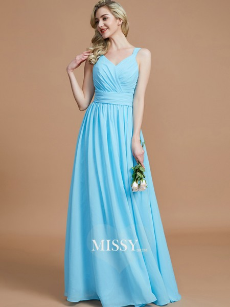 A-Line/Princess V-neck Chiffon Floor-Length Bridesmaid Dresses