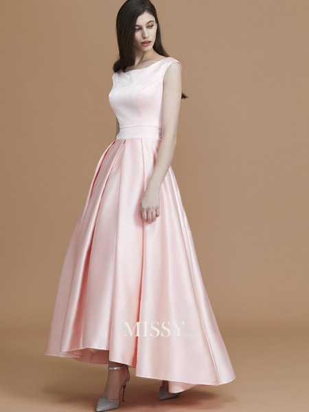A-Line/Princess Bateau Asymmetrical Satin Bridesmaid Dresses with Ruffles