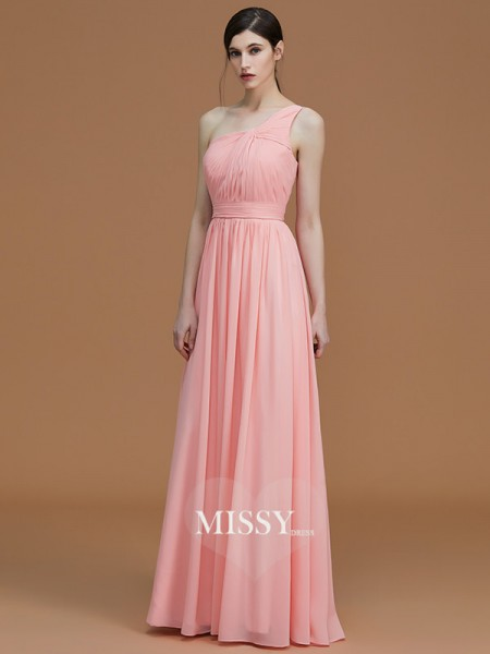 A-Line/Princess One-Shoulder Floor-Length Chiffon Bridesmaid Dresses with Ruched