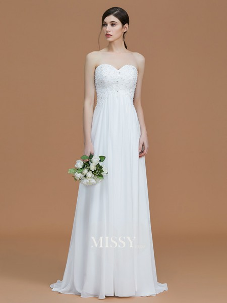 A-Line/Princess Sweetheart Sweep/Brush Train Chiffon Bridesmaid Dresses with Beading