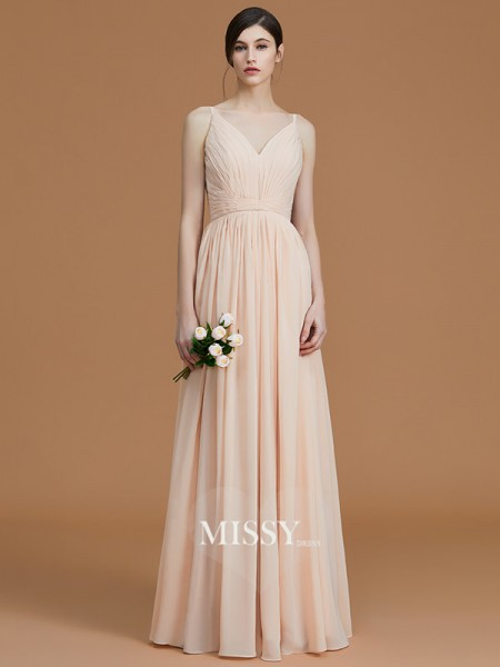 A-Line/Princess V-neck Floor-Length Chiffon Bridesmaid Dresses with Ruffles