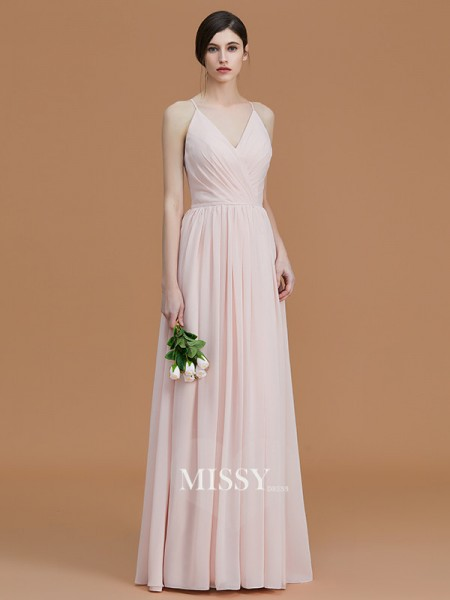 A-Line/Princess Spaghetti Straps Floor-Length Chiffon Bridesmaid Dresses with Ruched