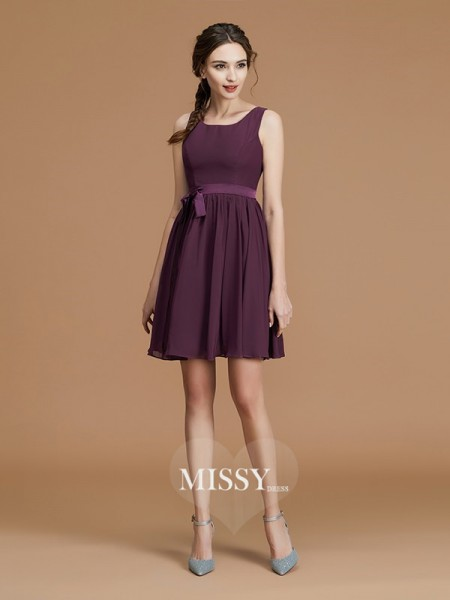 A-Line/Princess Bateau Short/Mini Chiffon Bridesmaid Dresses with Sash/Ribbon/Belt
