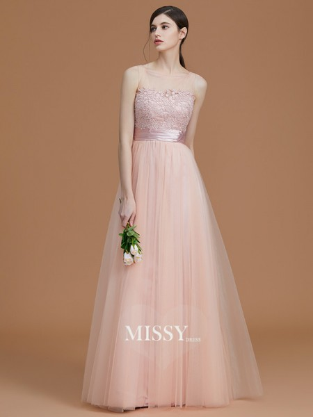 A-Line/Princess Bateau Floor-Length Tulle Bridesmaid Dresses with Applique