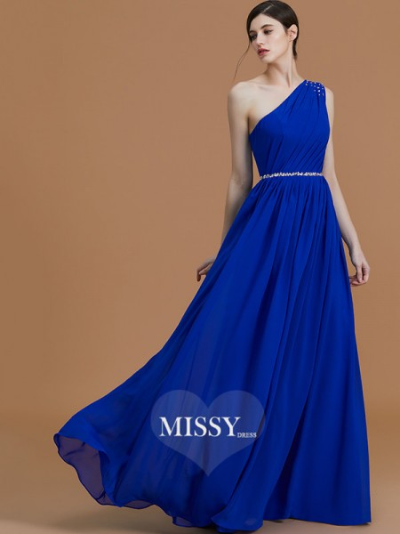 A-Line/Princess One-Shoulder Floor-Length Chiffon Bridesmaid Dresses with Beading