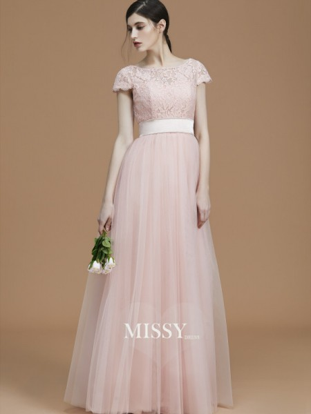 A-Line/Princess Bateau Floor-Length Tulle Bridesmaid Dresses with Sash/Ribbon/Belt