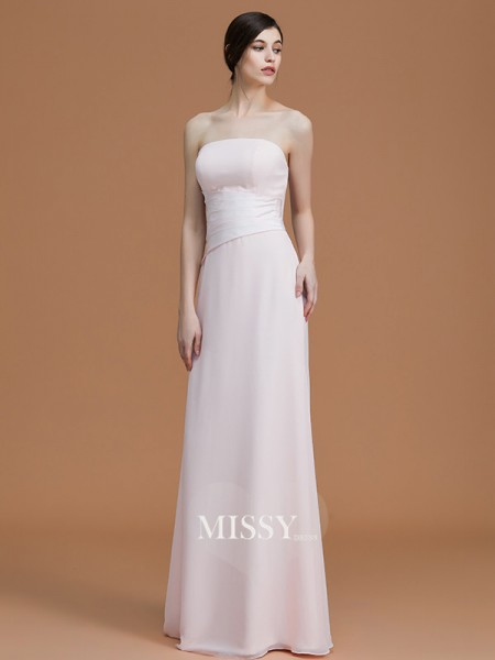 A-Line/Princess Strapless Floor-Length Chiffon Bridesmaid Dresses with Ruched