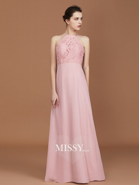 A-Line/Princess Halter Floor-Length Chiffon Bridesmaid Dresses with Lace