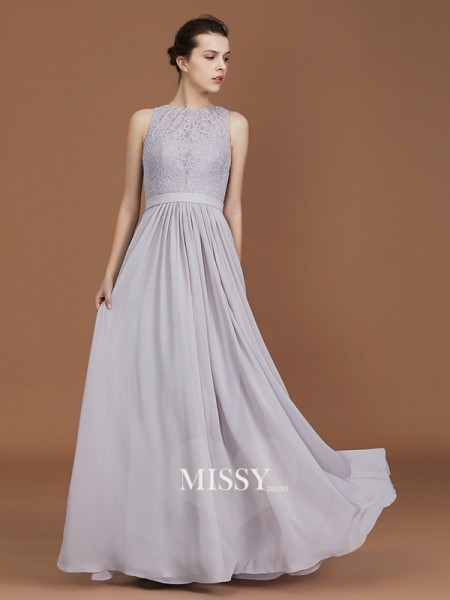 A-Line/Princess Scoop Floor-Length Chiffon Bridesmaid Dresses with Lace