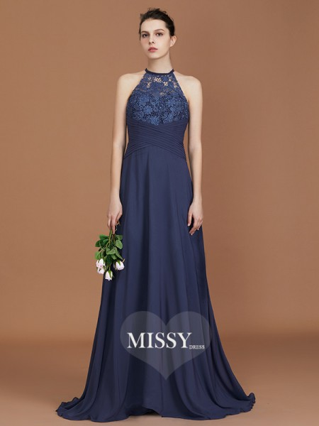 A-Line/Princess Scoop Sweep Train Chiffon Bridesmaid Dresses with Lace