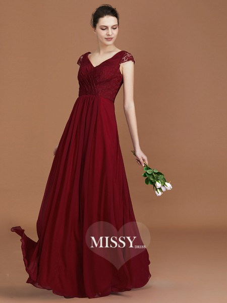 A-Line/Princess Lace Chiffon V-neck Floor-Length Bridesmaid Dresses with Ruched