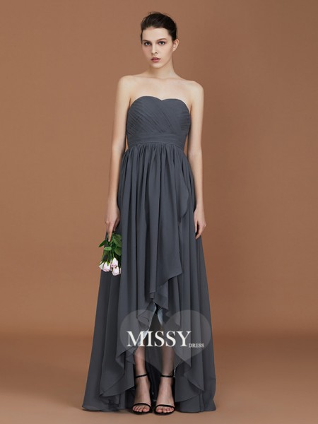 A-Line/Princess Asymmetrical Sweetheart Floor-Length Chiffon Bridesmaid Dresses with Ruched