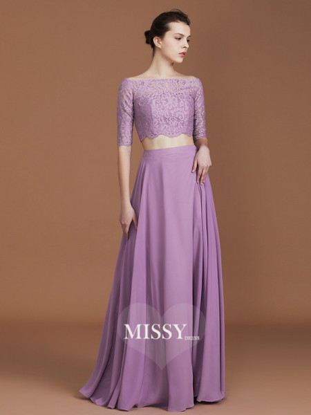 A-Line/Princess Off-the-Shoulder Floor-Length Chiffon Bridesmaid Dresses with Lace