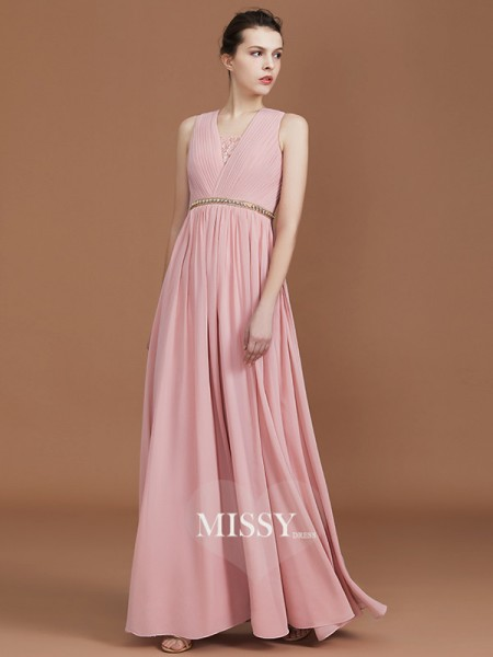 A-Line/Princess Lace Floor-Length Chiffon V-neck Bridesmaid Dresses with Ruched