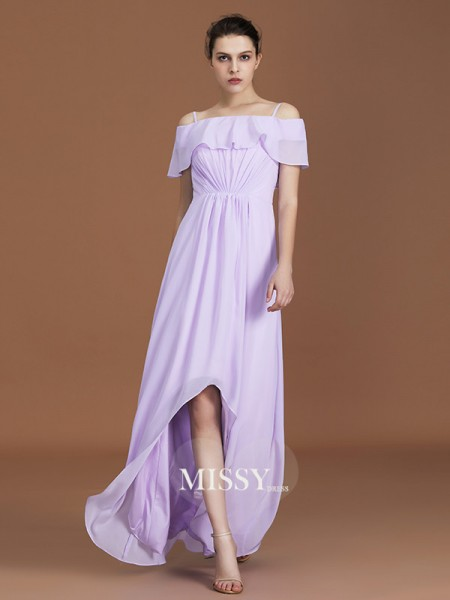 A-Line/Princess Asymmetrical Off-the-Shoulder Chiffon Bridesmaid Dresses with Ruched