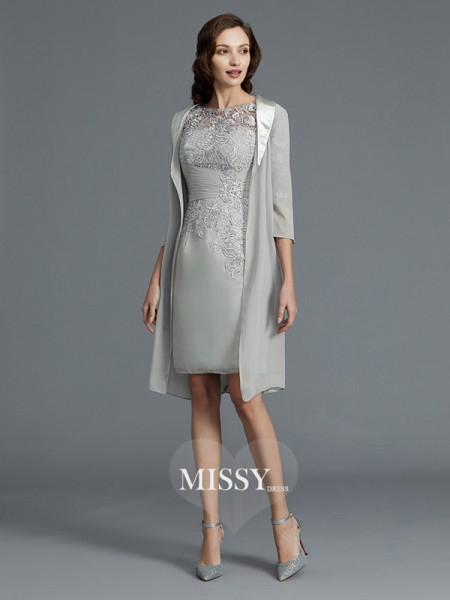 Sheath/Column Scoop Chiffon Short/Mini Mother of the Bride Dresses