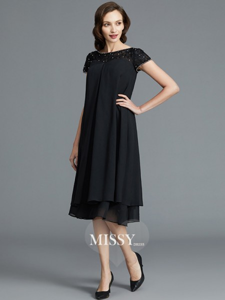 A-Line/Princess Scoop Knee-Length Chiffon Mother of the Bride Dresses