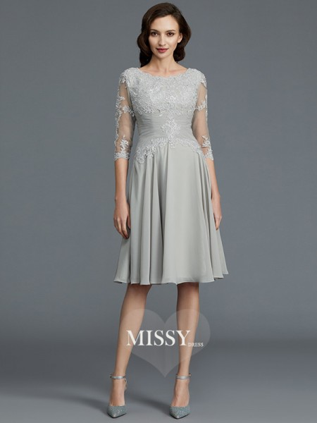 A-Line/Princess Scoop Knee-Length Chiffon Mother of the Bride Dresses with Applique