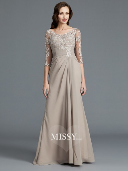 A-Line/Princess Scoop Chiffon Floor-Length Mother of the Bride Dresses with Applique