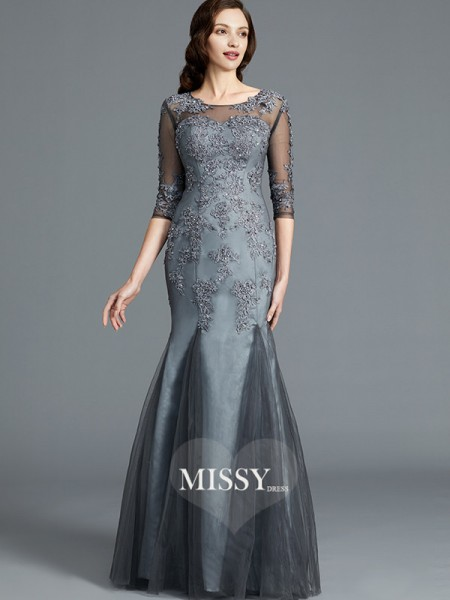 Sheath/Column Scoop Tulle Floor-Length Mother of the Bride Dresses with Applique