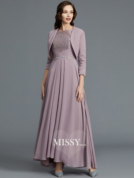A-Line/Princess Scoop Asymmetrical Chiffon Mother of the Bride Dresses