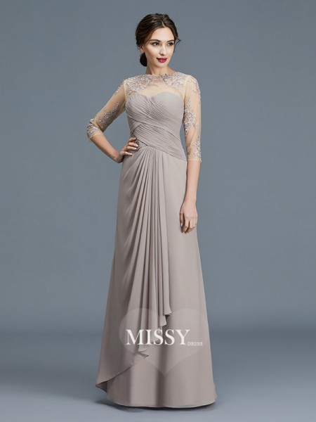 A-Line/Princess Sheer Neck Chiffon Floor-Length Mother of the Bride Dresses with Ruffles