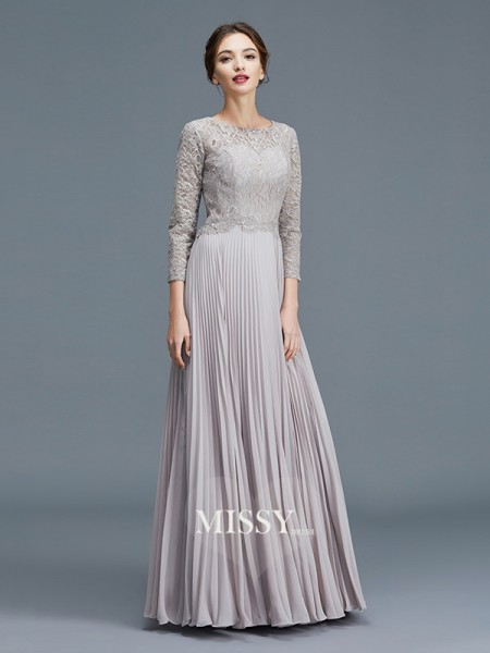 A-Line/Princess Scoop Chiffon Floor-Length Mother of the Bride Dresses with Lace
