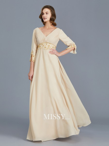 A-Line/Princess V-neck Chiffon Floor-Length Mother of the Bride Dresses with Ruffles