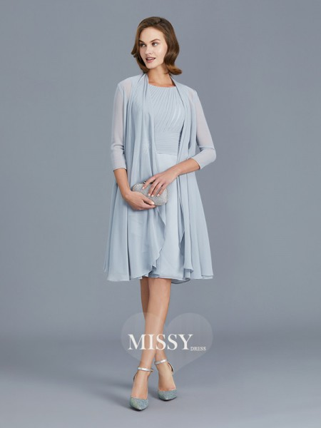 A-Line/Princess Scoop Chiffon Knee-Length Mother of the Bride Dresses with Ruffles