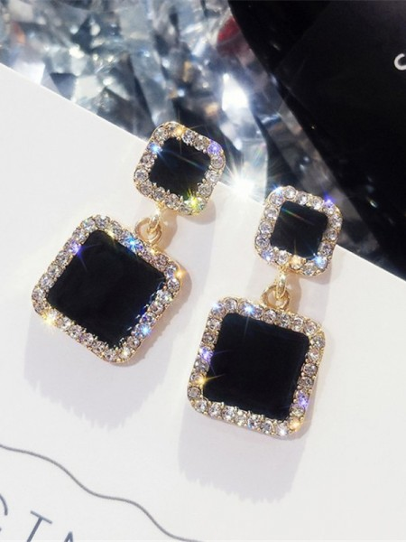 Latest Design Square Rhinestone Hot Sale Earrings