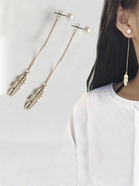 Latest Design Vintage Long Chain Leaf Pearl Earrings