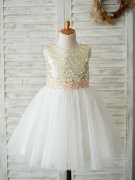 A-Line/Princess Tulle Scoop Sleeveless Knee-Length Flower Girl Dresses with Sequin