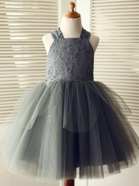 A-Line/Princess Knee-Length Straps Sleeveless Tulle Flower Girl Dresses with Lace