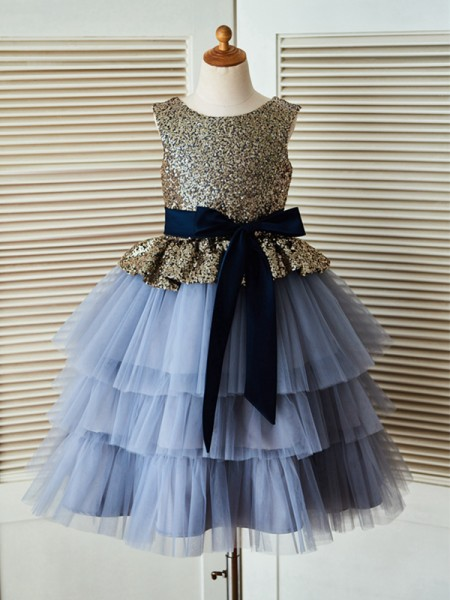 A-Line/Princess Tea-Length Scoop Sleeveless Tulle Flower Girl Dresses with Sequin