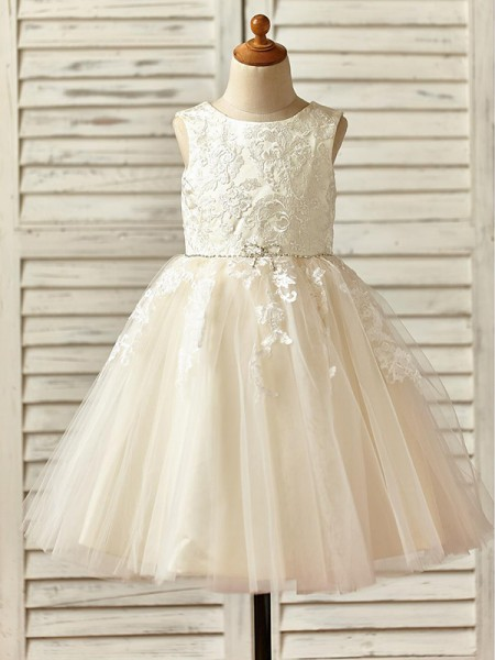 A-Line/Princess Knee-Length Scoop Sleeveless Tulle Flower Girl Dresses with Lace