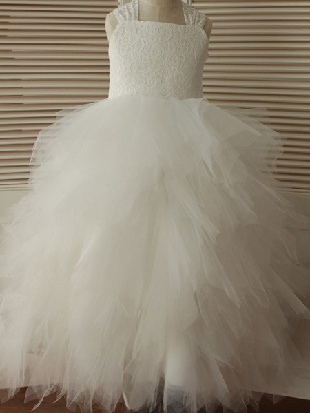 A-Line/Princess Ankle-Length Straps Sleeveless Tulle Flower Girl Dresses with Lace
