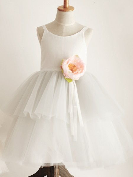 A-Line/Princess Tulle Scoop Sleeveless Knee-Length Flower Girl Dresses with Hand-Made Flower