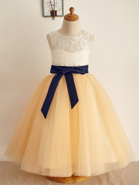 A-Line/Princess Tulle Scoop Sleeveless Floor-Length Flower Girl Dresses with Bowknot