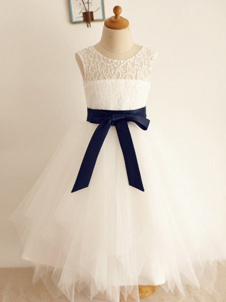 A-Line/Princess Tulle Scoop Sleeveless Tea-Length Flower Girl Dresses with Bowknot