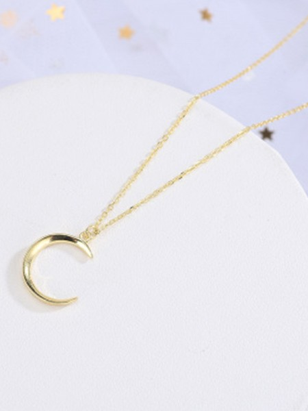 Korean Silver Moon Necklace