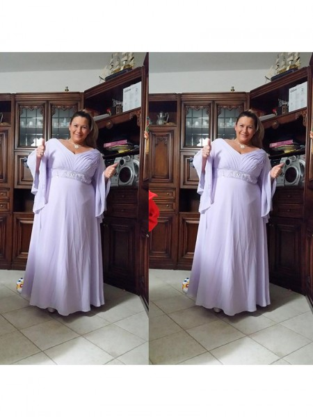 A-Line/Princess V-neck Floor-Length Chiffon Mother Of The Bride Dresses with Beading