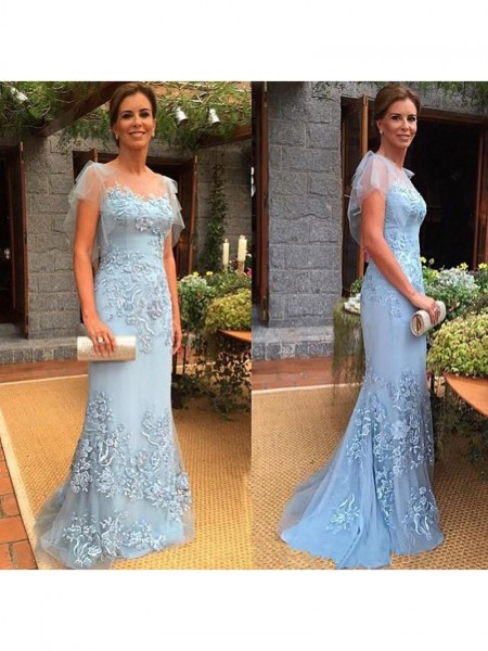 Sheath/Column Sheer Neck Sweep/Brush Train Tulle Mother Of The Bride Dresses with Applique