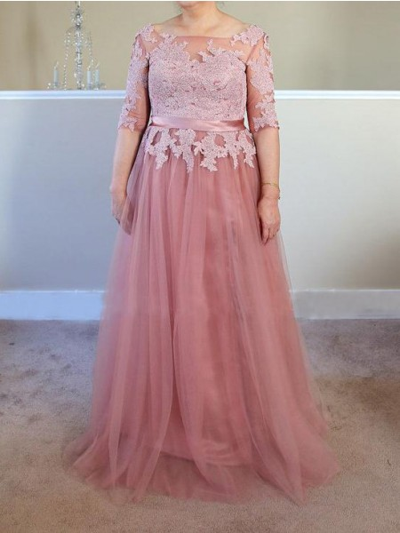 A-Line/Princess Bateau Floor-Length Tulle Mother Of The Bride Dresses with Applique