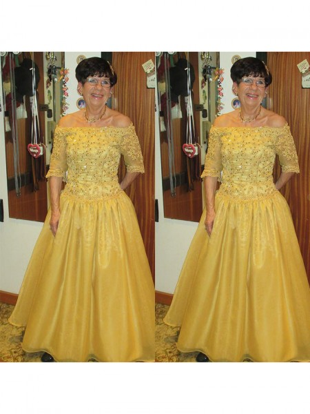 A-Line/Princess Off-the-Shoulder Floor-Length Tulle Mother Of The Bride Dresses with Beading