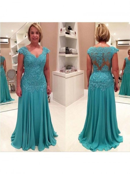 Sheath/Column V-neck Sweep/Brush Train Chiffon Mother Of The Bride Dresses with Applique
