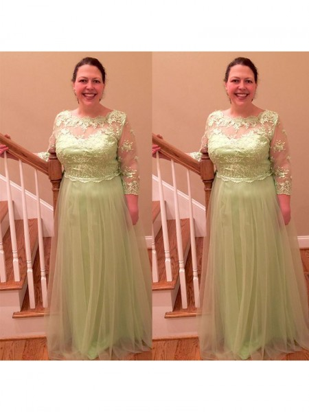 A-Line/Princess Sheer Neck Floor-Length Tulle Mother Of The Bride Dresses with Applique
