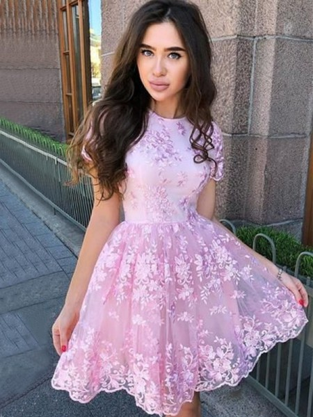 A-Line/Princess Organza Sheer Neck Sleeveless Short/Mini Homecoming Dresses with Applique