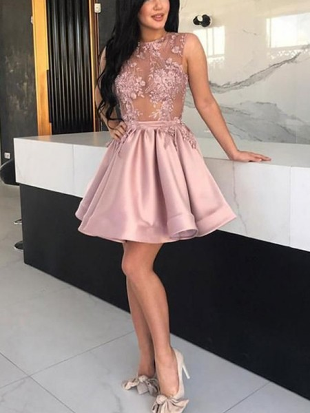 A-Line/Princess Satin Sheer Neck Sleeveless Short/Mini Homecoming Dresses with Applique