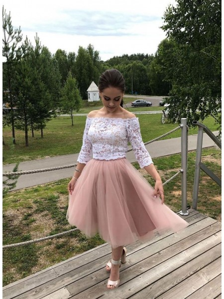 A-Line/Princess Tulle Off-the-Shoulder Long Sleeves Tea-Length Homecoming Dresses with Lace